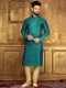 Teal Green Art Banarasi Silk Festival Embroidered Kurta