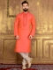 Coral Orange Art Banarasi Silk Festival Embroidered Kurta