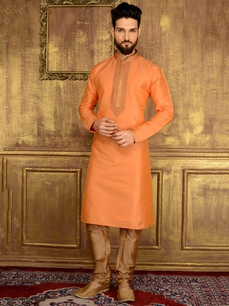Pink Orange Art Banarasi Silk Festival Embroidered Kurta