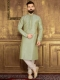 Tea Green Art Banarasi Silk Festival Embroidered Kurta
