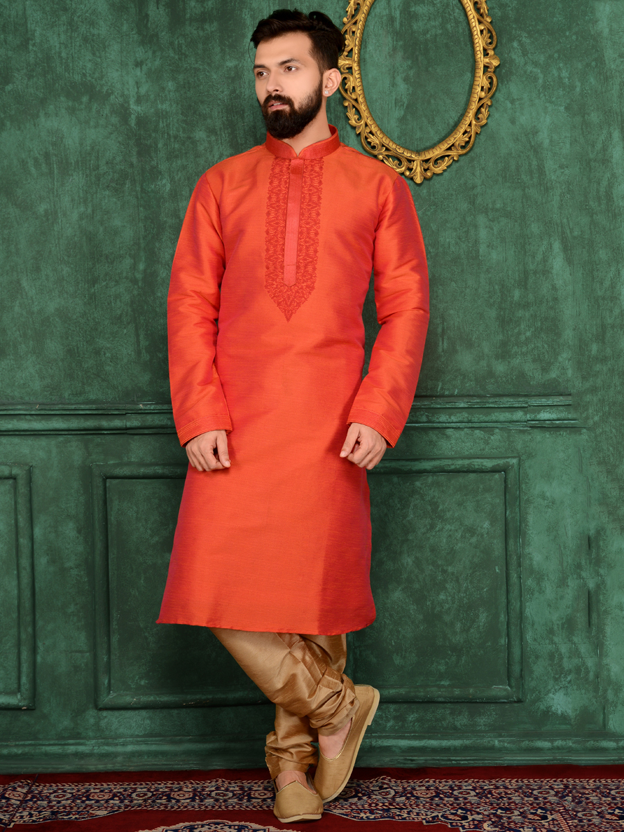 Tomato Orange Art Banarasi Silk Festival Embroidered Kurta