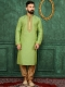 Lime Green Art Banarasi Silk Festival Embroidered Kurta