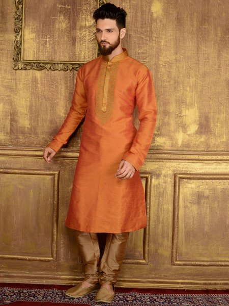 Carrot Orange Art Banarasi Silk Festival Embroidered Kurta