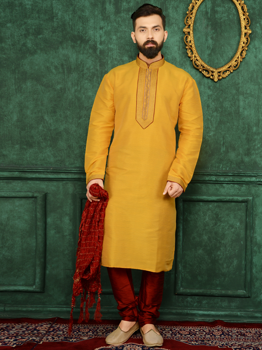 Amber Yellow Art Banarasi Silk Festival Embroidered Kurta