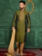 Olive Drab Green Art Banarasi Silk Festival Embroidered Kurta