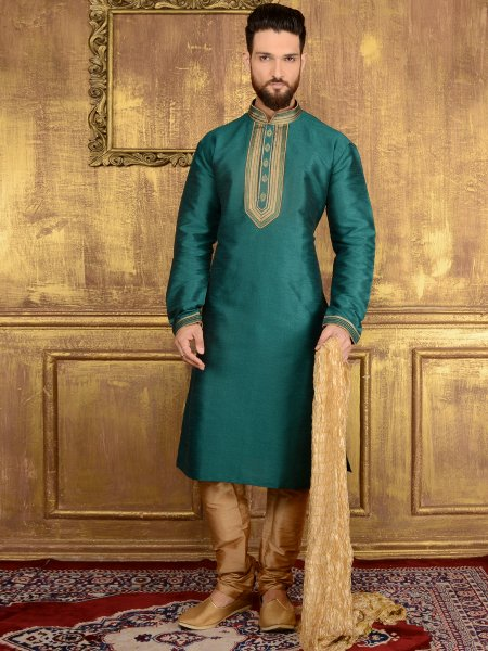 Bondi Blue Art Banarasi Silk Festival Embroidered Kurta
