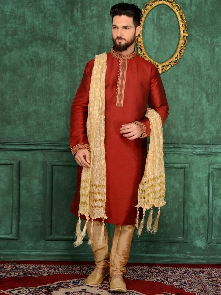 Persian Red Art Banarasi Silk Festival Embroidered Kurta