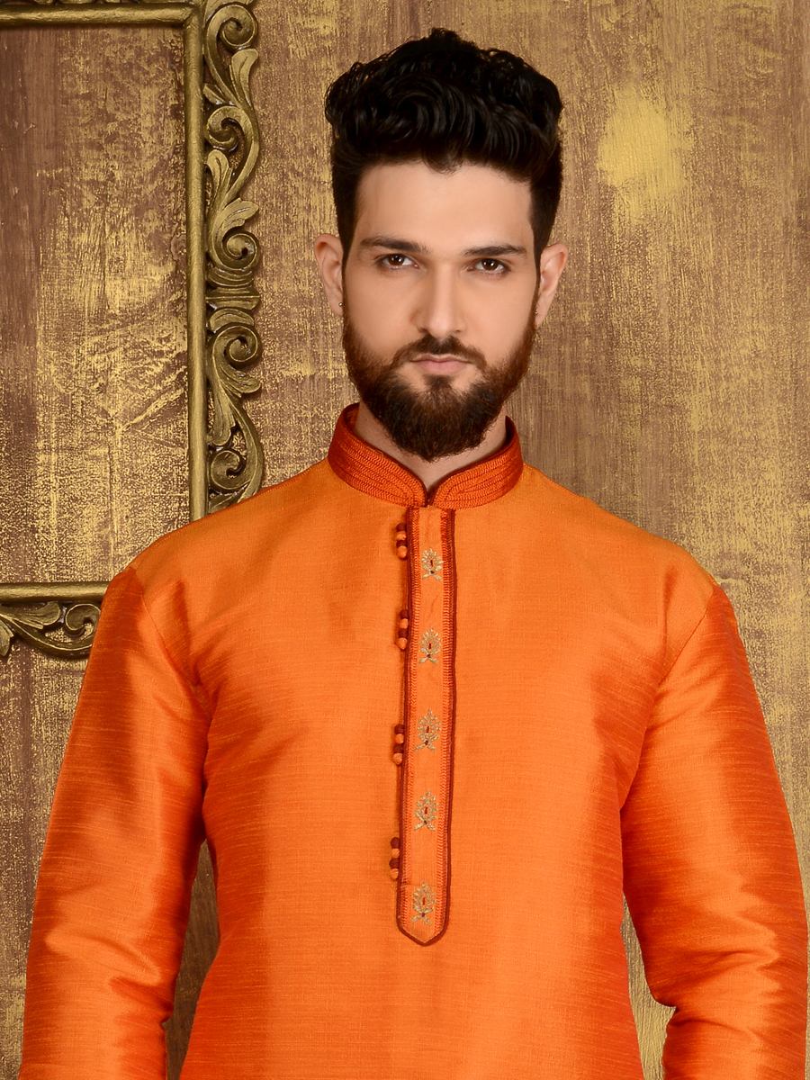 Pumpkin Orange Art Banarasi Silk Festival Embroidered Kurta