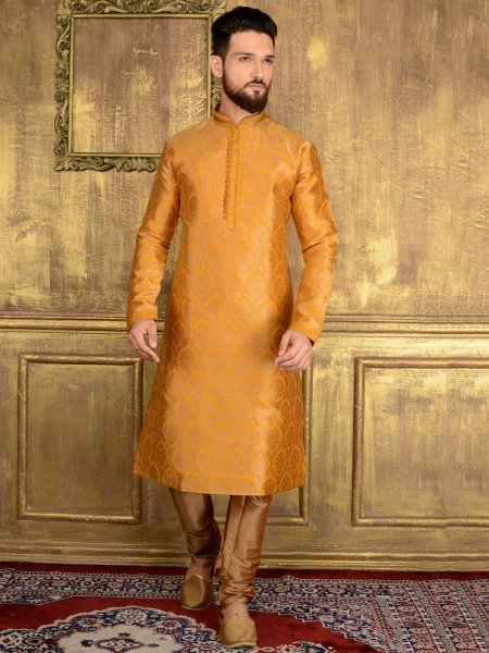 Amber Yellow Jacquard Silk And Brocade Festival Embroidered Kurta