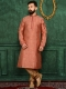 Chestnut Red Jacquard Silk And Brocade Festival Embroidered Kurta