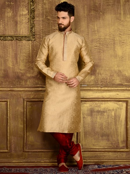 Cream Yellow Jacquard Silk And Brocade Festival Embroidered Kurta
