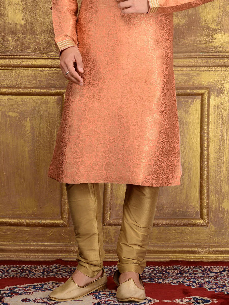 Coral Pink Jacquard Silk And Brocade Festival Embroidered Kurta