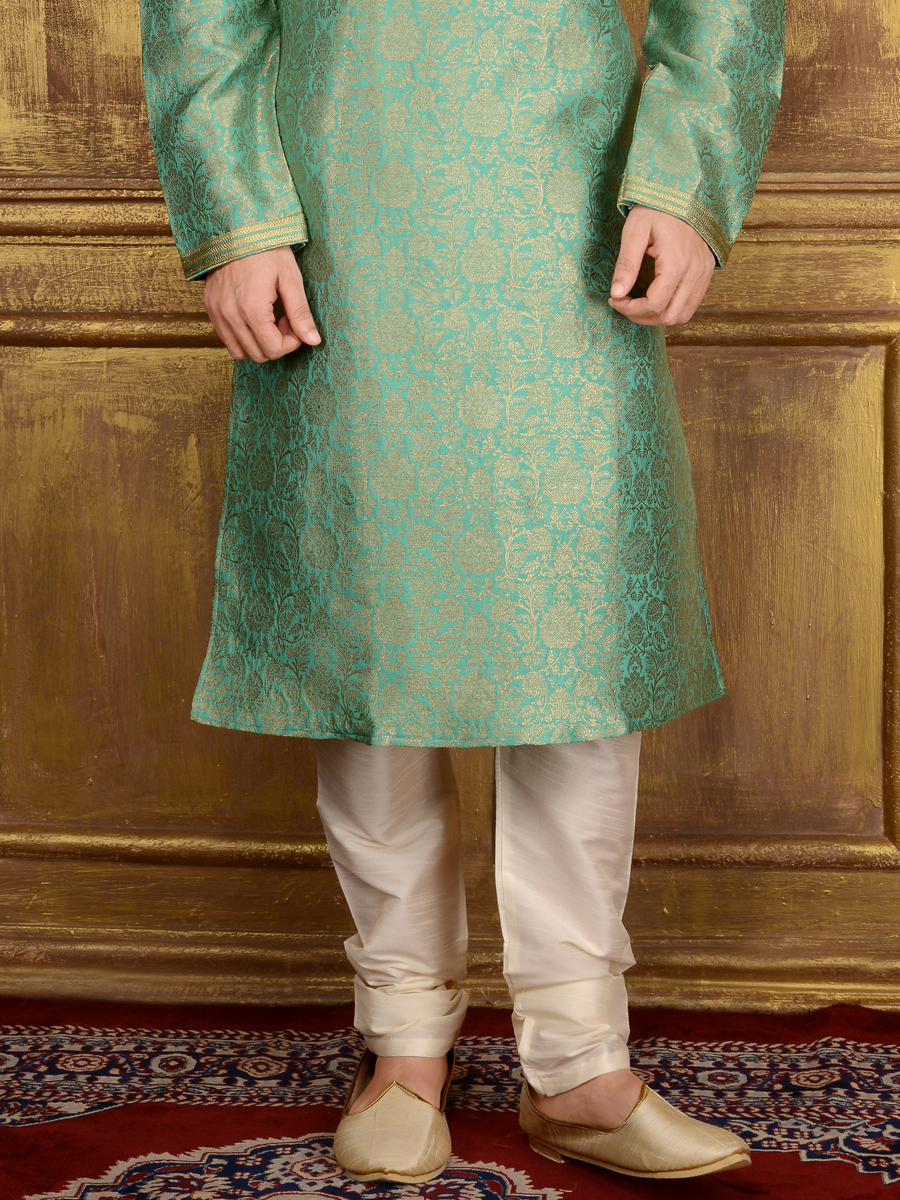 Moss Green Jacquard Silk And Brocade Festival Embroidered Kurta