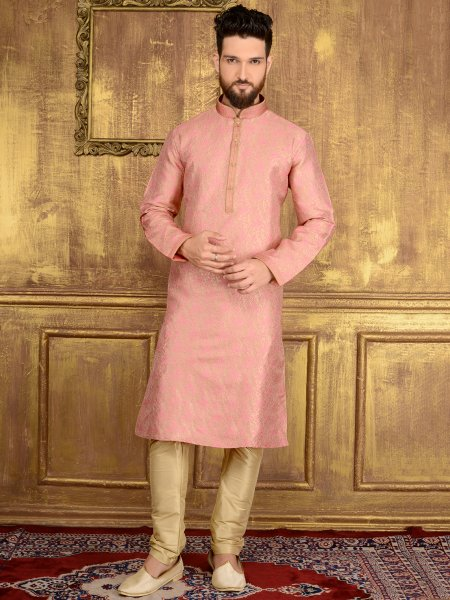 Lavender Pink Jacquard Silk And Brocade Festival Embroidered Kurta