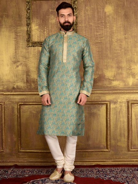 Tea Green Jacquard Silk And Brocade Festival Embroidered Kurta