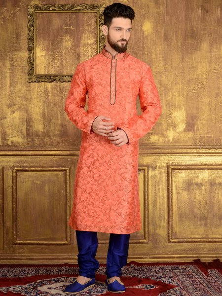 Salmon Pink Brocade Silk Festival Embroidered Kurta