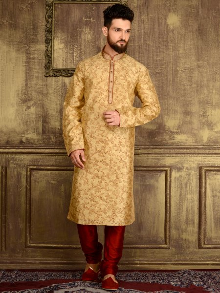 Cream Yellow Brocade Silk Festival Embroidered Kurta