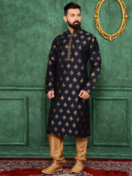 Midnight Blue Jacquard Silk And Brocade Festival Embroidered Kurta