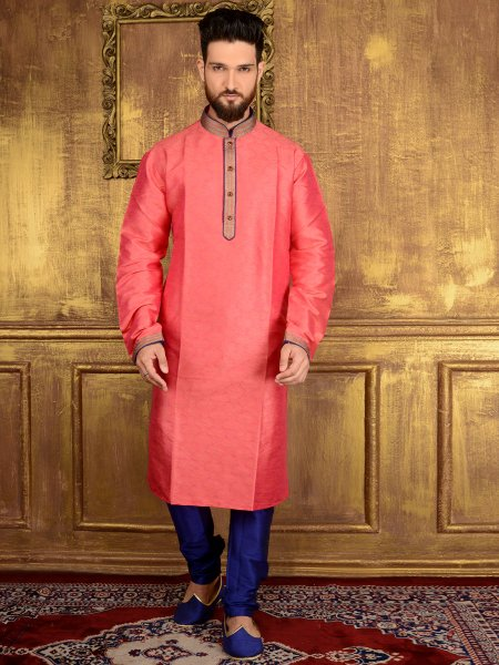 Persian Pink Jacquard Silk And Brocade Festival Embroidered Kurta