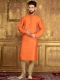 Coral Orange Jacquard Silk And Brocade Festival Embroidered Kurta