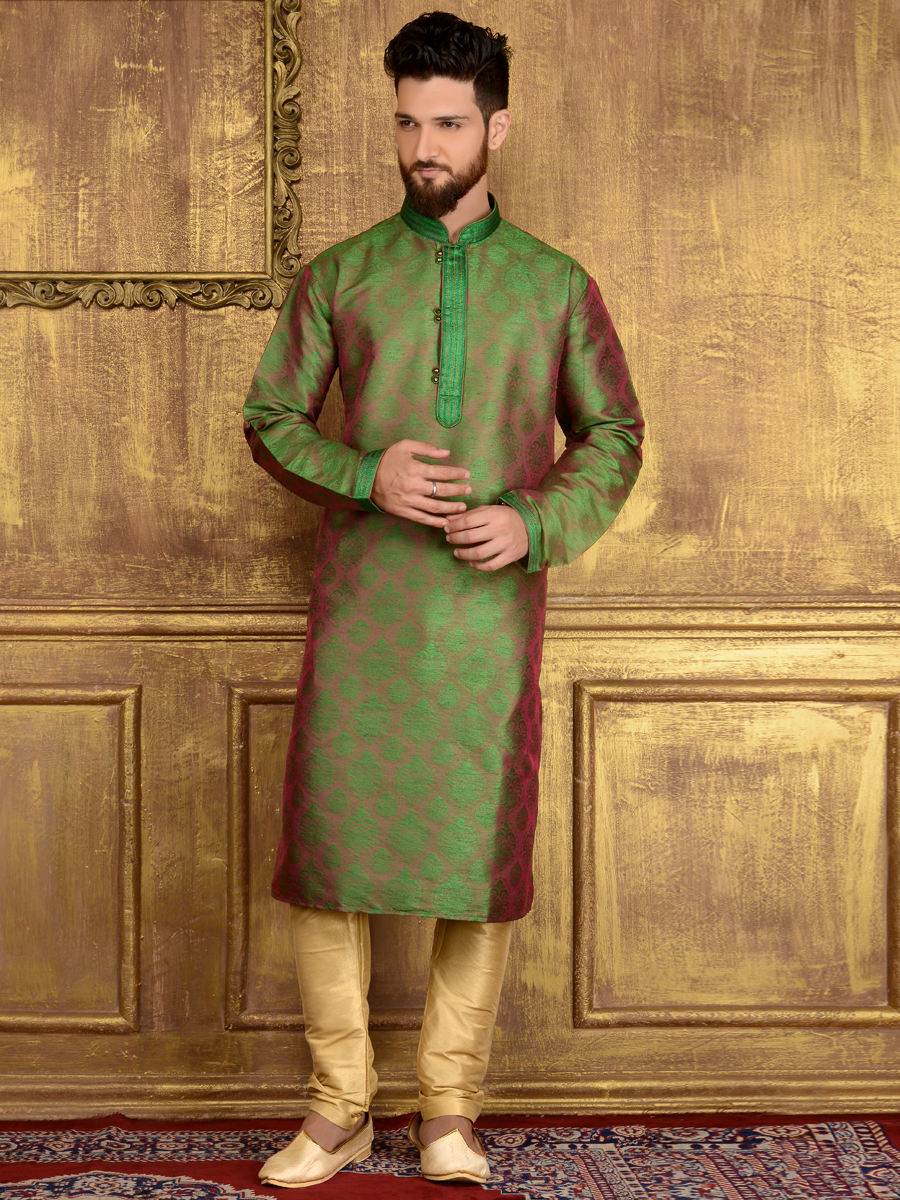 Deep Lime Green Jacquard Silk And Brocade Festival Embroidered Kurta