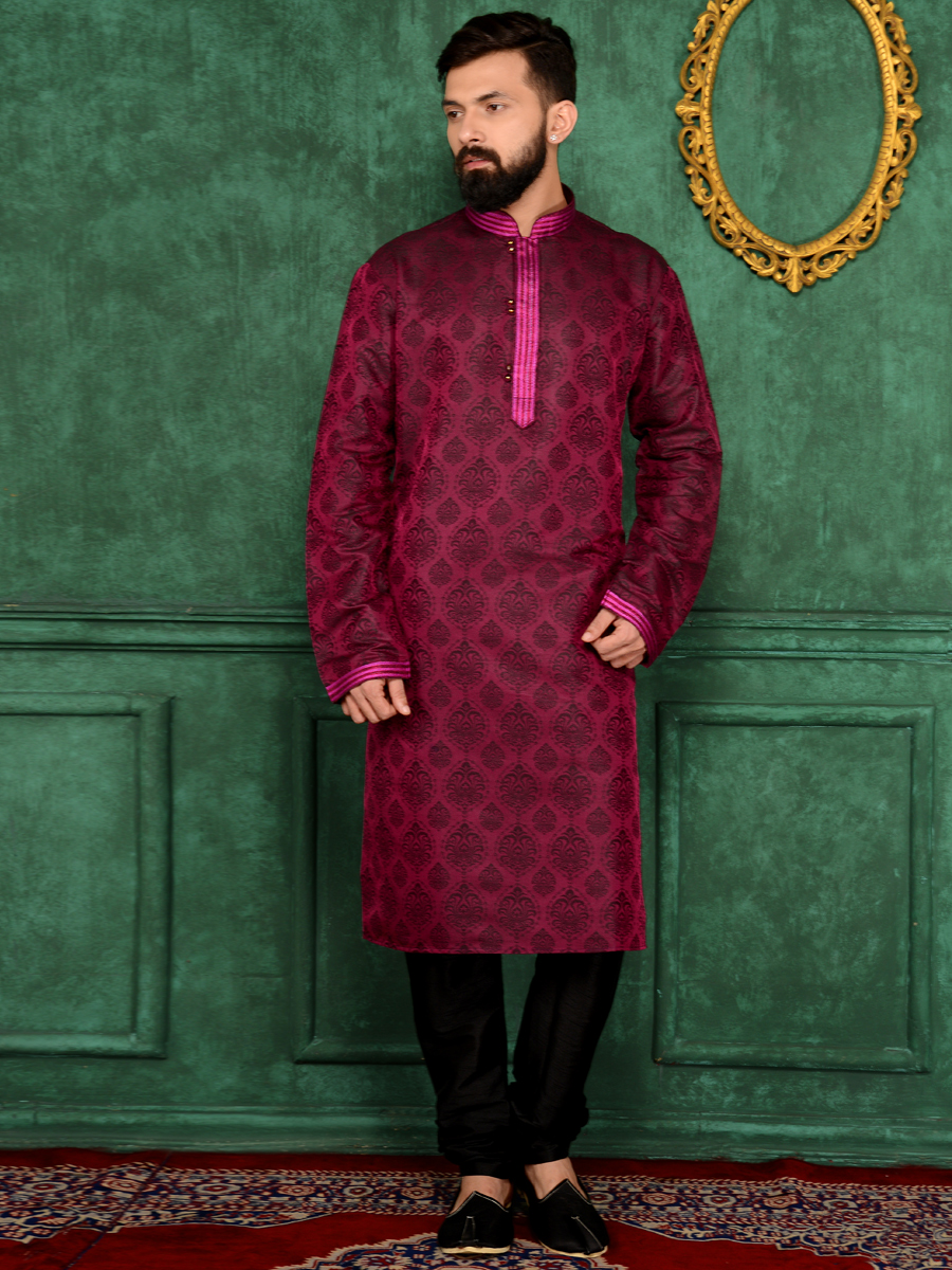 Red Violet Jacquard Silk And Brocade Festival Embroidered Kurta
