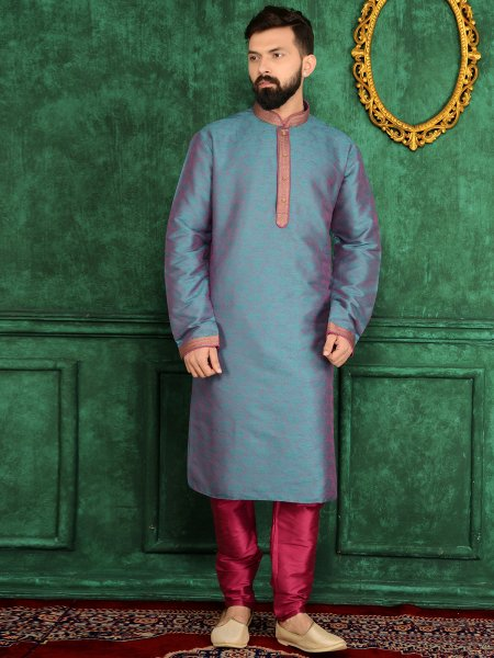Cornflower Blue Jacquard Silk And Brocade Festival Embroidered Kurta