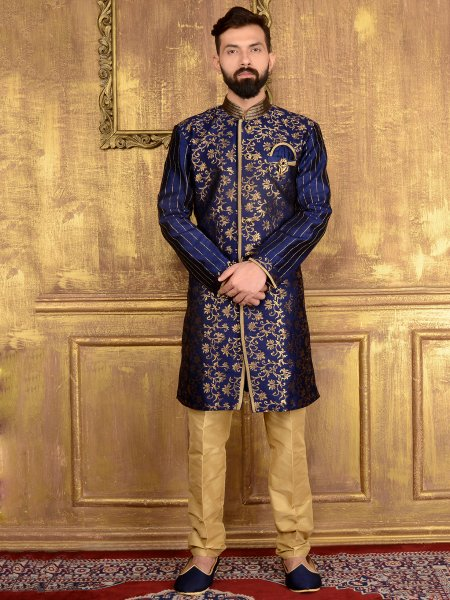 Sapphire Blue Jacquard and Brocade Silk Wedding Embroidered Sherwani