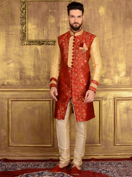 Persian Red and Cream Yellow Jacquard and Brocade Silk Wedding Embroidered Sherwani
