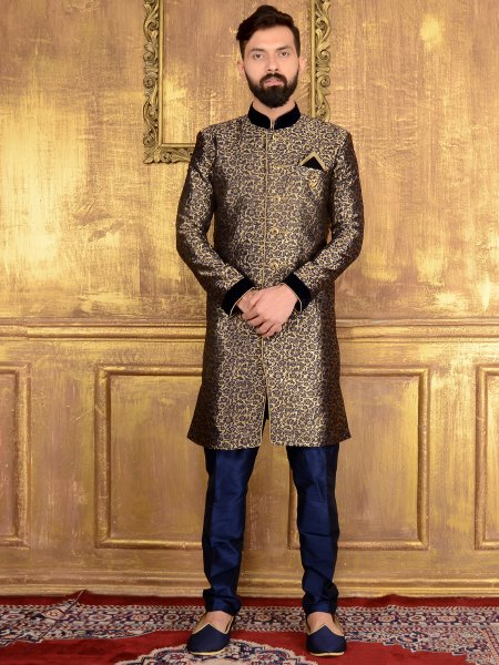 Cream Yellow and Navy Blue Jacquard and Brocade Silk Wedding Embroidered Sherwani