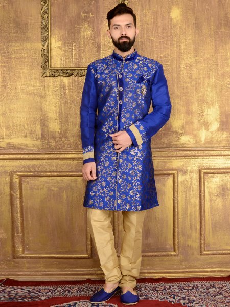 Duke Blue Jacquard and Brocade Silk Wedding Embroidered Sherwani