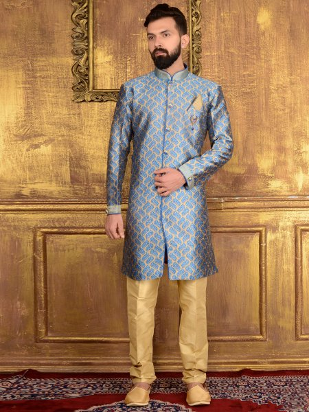 Cornflower Blue Jacquard and Brocade Silk Wedding Embroidered Sherwani