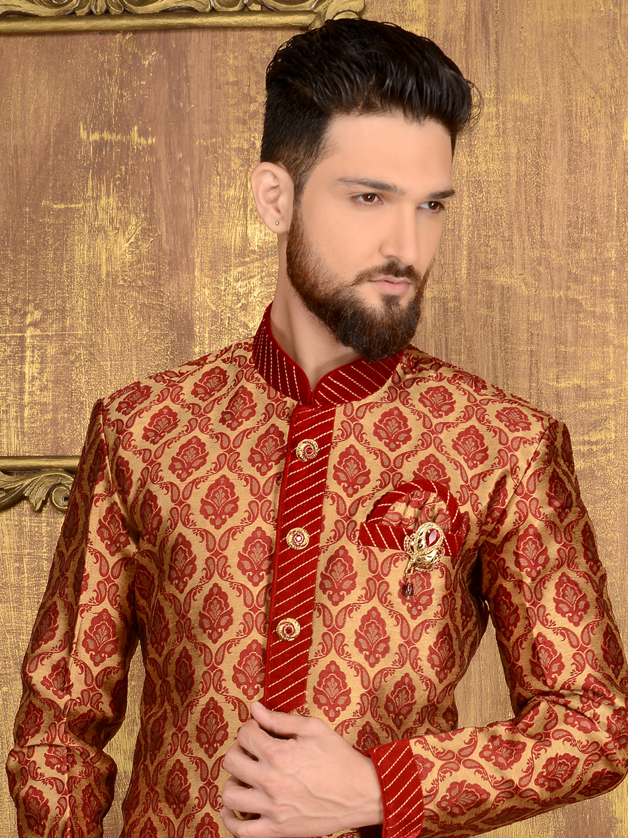 Cream Yellow and Maroon Jacquard and Brocade Silk Wedding Embroidered Sherwani