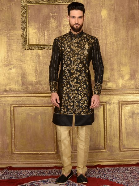 Black Jacquard and Brocade Silk Wedding Embroidered Sherwani