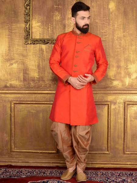 Coral Red Art Banarasi Silk Wedding Embroidered Sherwani