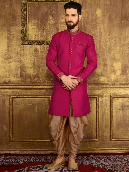 Deep Fuchsia Pink Art Banarasi Silk Wedding Embroidered Sherwani