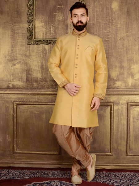 Cream Yellow Art Banarasi Silk Wedding Embroidered Sherwani