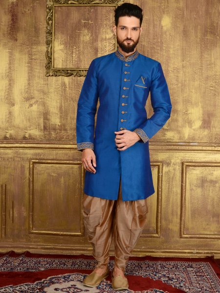 Royal Blue Art Banarasi Silk Wedding Embroidered Sherwani