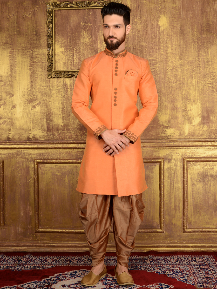 Coral Orange Art Banarasi Silk Wedding Embroidered Sherwani