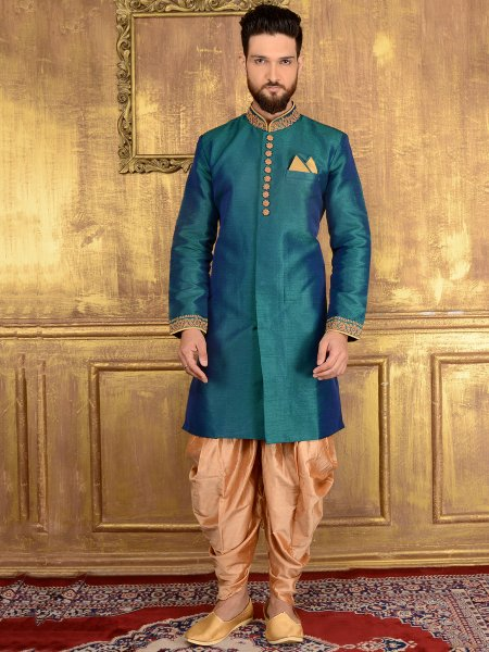 Bondi Blue Art Banarasi Silk Wedding Embroidered Sherwani