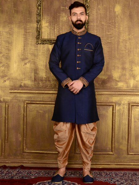 Sapphire Blue Art Banarasi Silk Wedding Embroidered Sherwani
