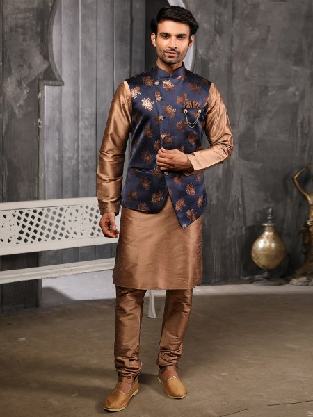 Raw Umber Brown Banarasi Silk Plain Festival Kurta with Waistcoat