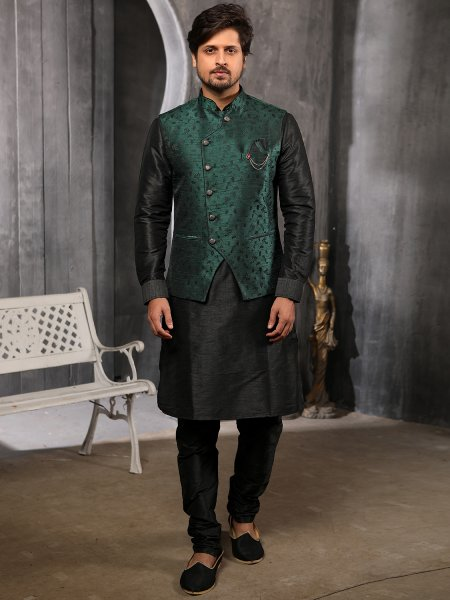Black Banarasi Silk Plain Festival Kurta with Waistcoat
