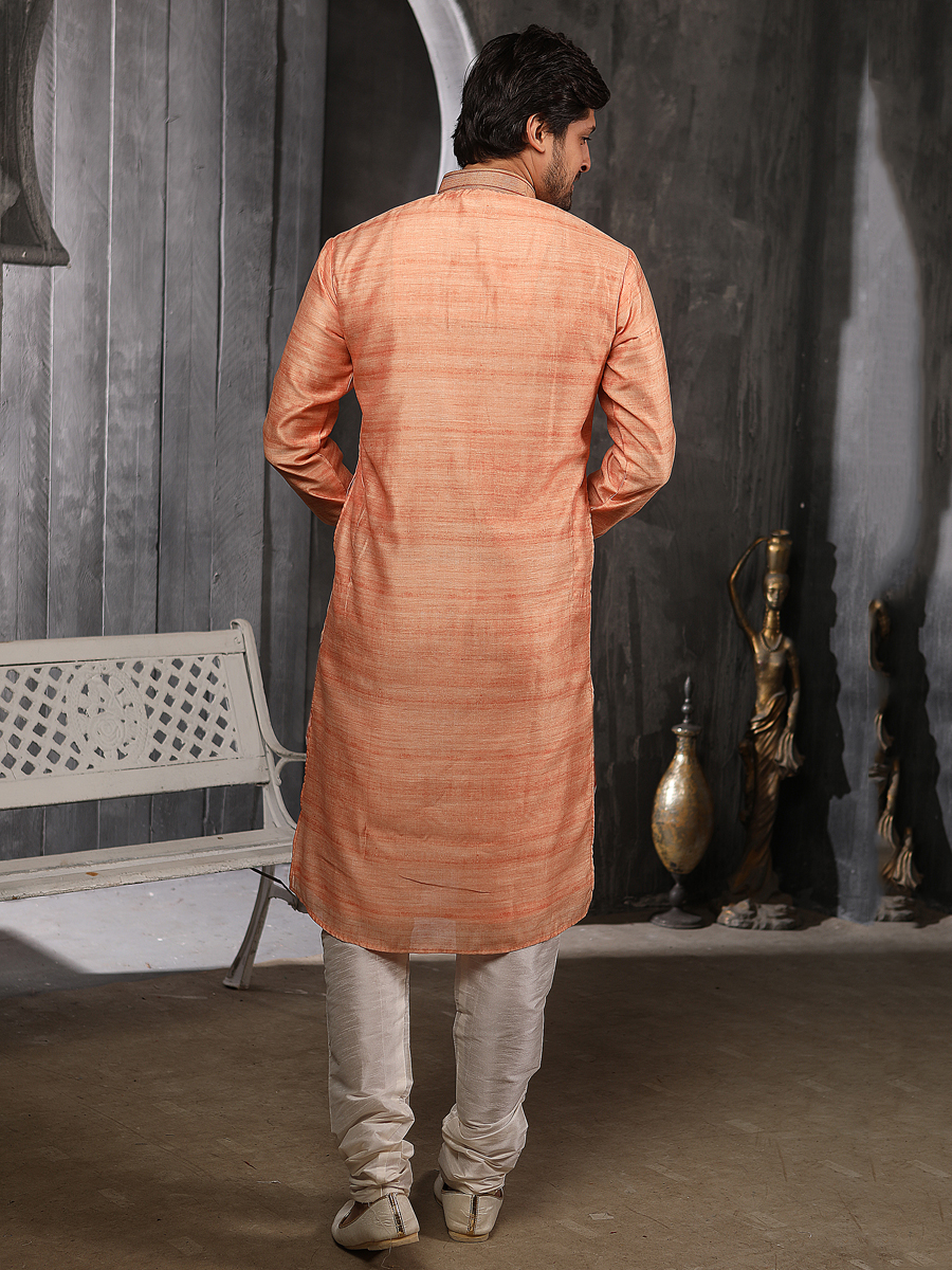 Salmon Orange Banarasi Silk Plain Festival Kurta