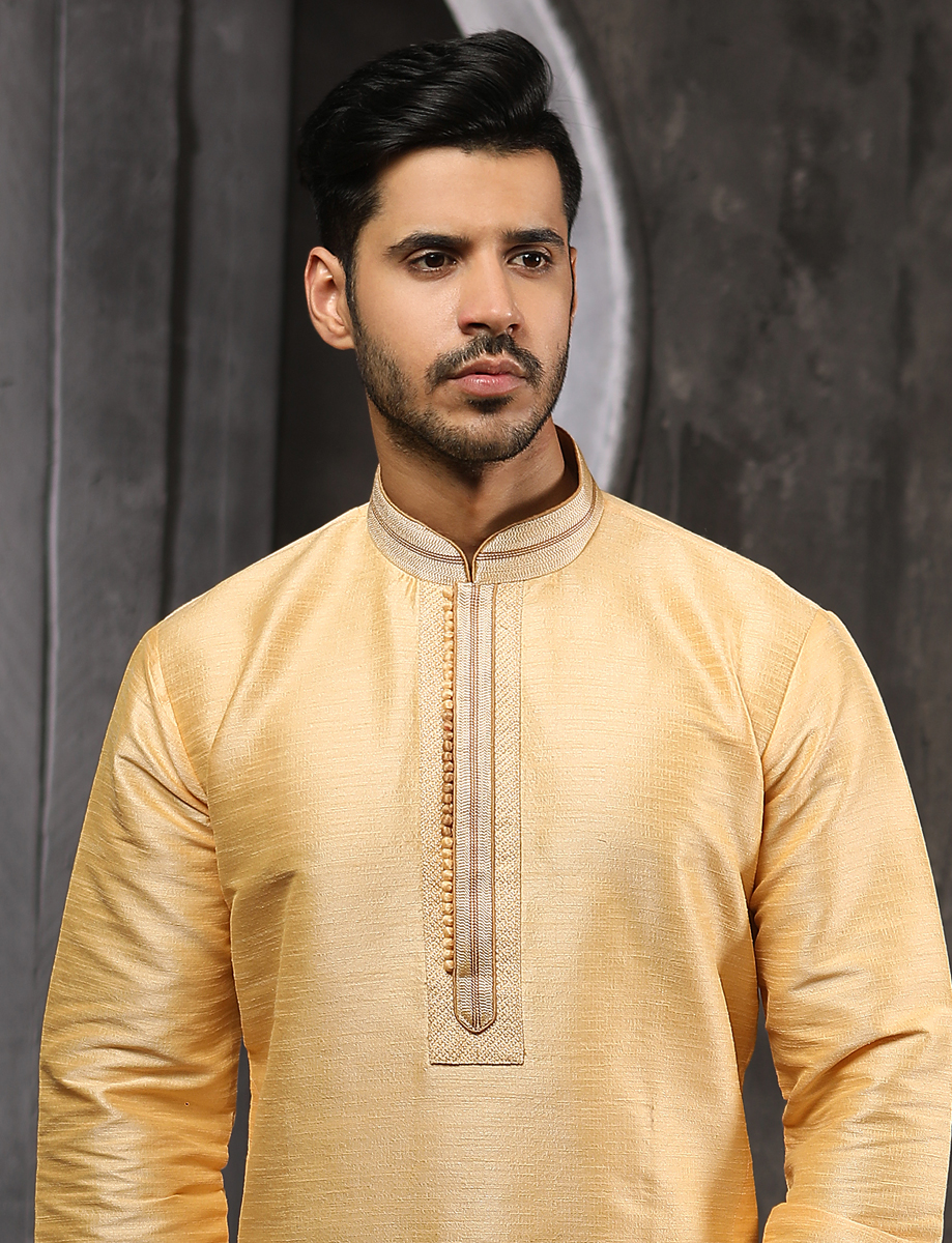 Buff Yellow Banarasi Silk Plain Festival Kurta