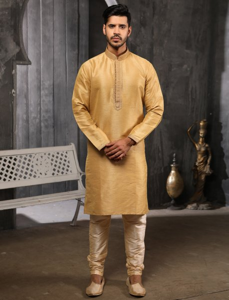 Golden Yellow Banarasi Silk Plain Festival Kurta