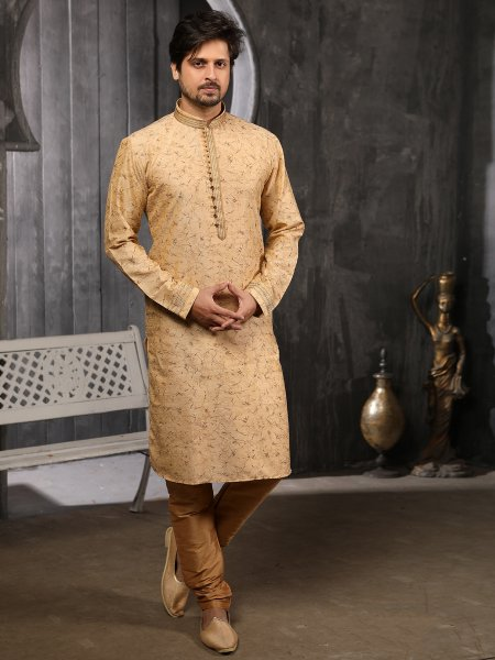 Golden Yellow Jacquard Silk Printed Festival Kurta