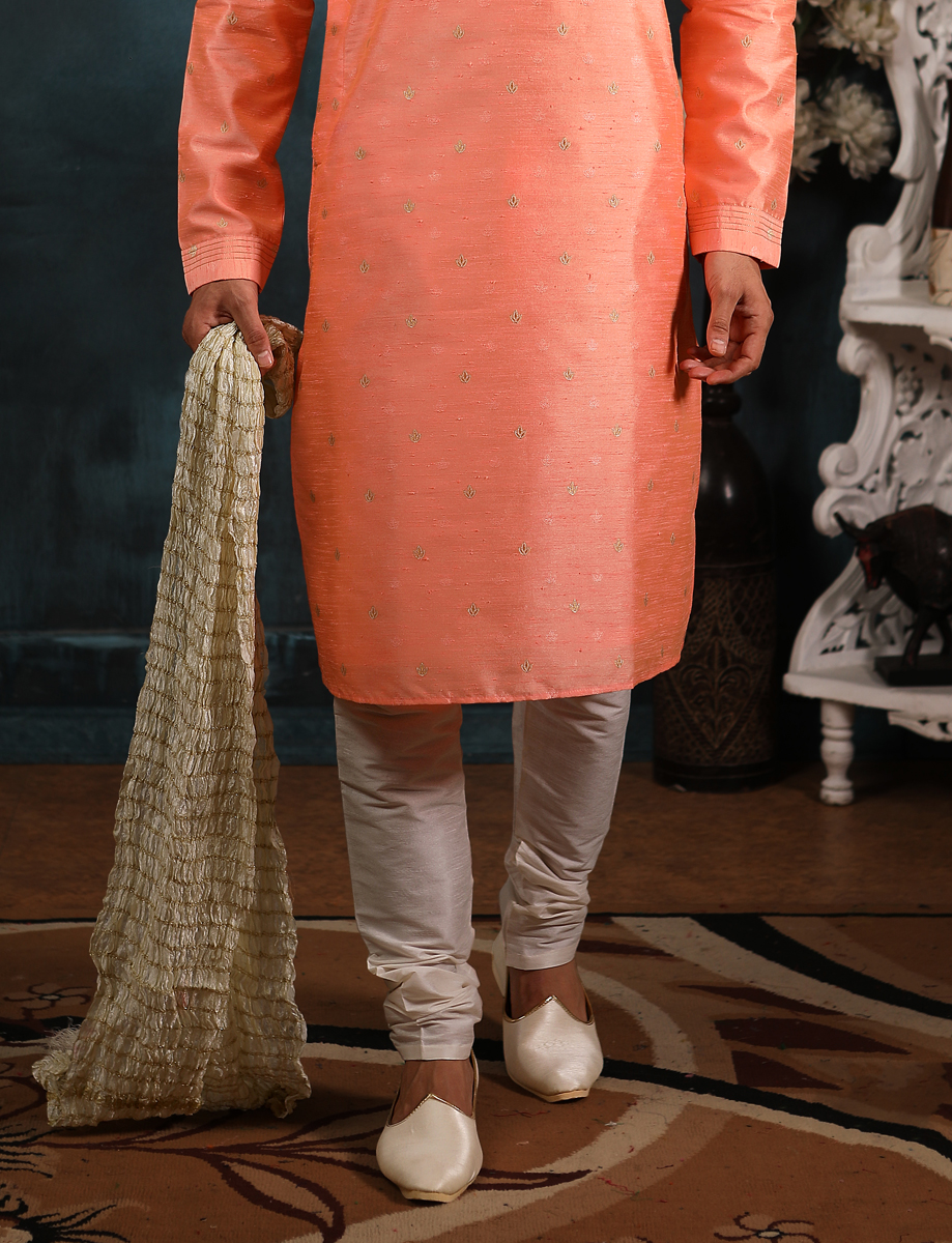 Salmon Orange Jacquard Silk Handwoven Festival Kurta
