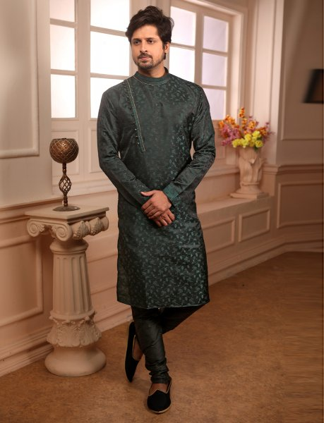 Hunter Green Jacquard Silk Handwoven Festival Kurta