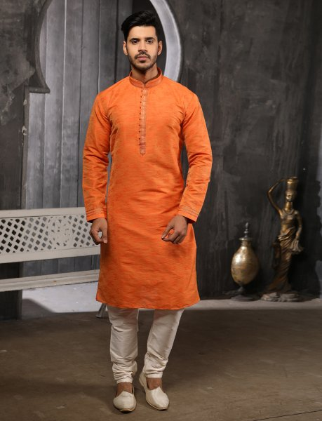 Pumpkin Orange Jacquard Silk Plain Festival Kurta
